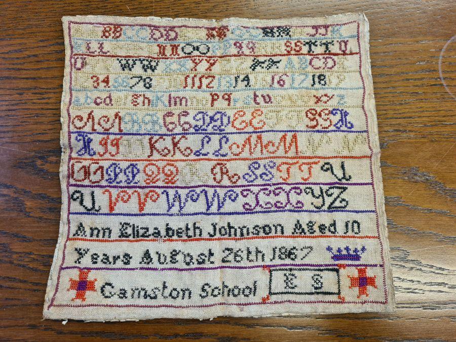 Victorian needlework sampler by Ann Elizabeth Johnson 1867 of Gamston School, Retford. - Image 4 of 4