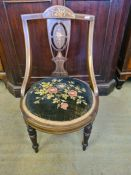 Victorian rosewood occasional chair with circular velvet floral embroidered seat with boxwood and