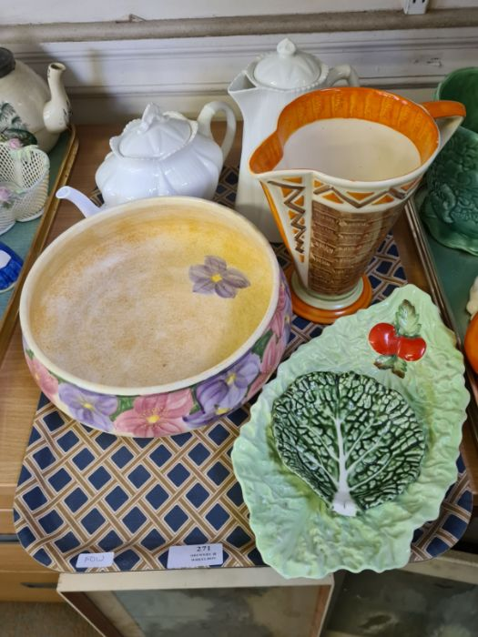 2 trays of 1930's decorative pottery and porcelain to include Shelley teapot and water jug, Myott - Image 2 of 5