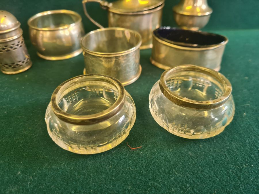 Various silver condiments, napkin rings, etc., makers to include Walker & Hall 140g silver content. - Image 5 of 7