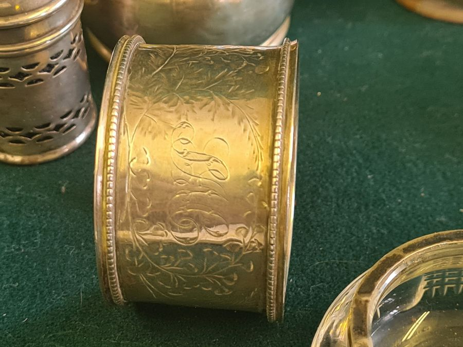 Various silver condiments, napkin rings, etc., makers to include Walker & Hall 140g silver content. - Image 6 of 7