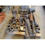 LOT MISC. HOLLOW STEM AUGER ADAPTORS, RED HEADS, CUTTING HEADS, ETC.