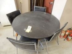 "48"" DIA. FORMICA TOP TABLE W/(4) PADDED CHAIRS"