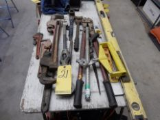 LOT MISC. PIPE WRENCHES, LEVELS, BOLT CUTTERS, ETC.