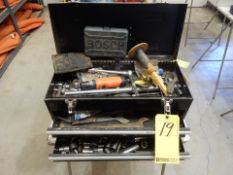 BLACK 2-DRAWER PORTABLE TOOL BOX W/MISC. HAND TOOLS & SMALL PLASTIC GREY TOOLBOX & MISC. TOOLS