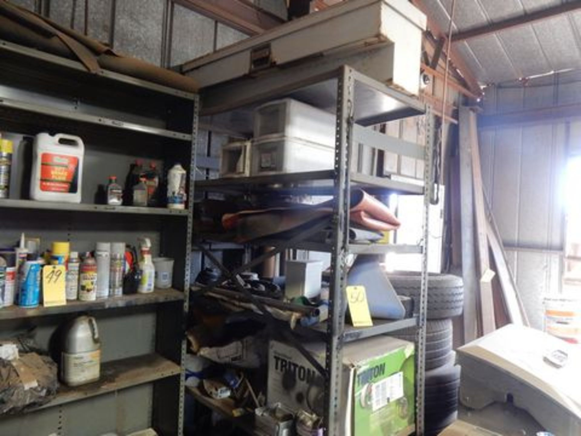 SHELF W/CONTENTS TO INCLUDE - TRUCK TOOL BOX, HOSE REEL, FUNNEL, MISC. NAILS