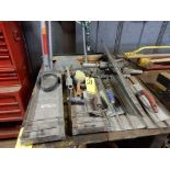 CONCRETE TOOLS TO INCLUDE - TROWELS, KNEE BOARDS, HAND BROOMS