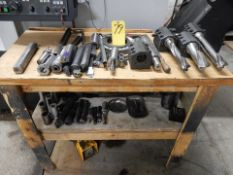 LOT WOOD TABLE W/TOOLING BLOCKS, TOOLING, SLEEVES, ETC.