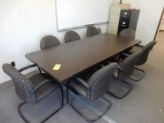 "42"" X 8' CONFERENCE TABLE, DUAL PEDESTAL, W/(8) PADDED ARM CHAIRS"