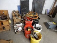 LOT MISC. STEEL TO INCLUDE 5 GAL. BUCKETS & PALLET