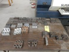 LOT MISC. HARD JAW, SOFT JAWS & TOOL BOX W/TABLE