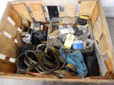 LOT CRATE OF MISC. LIFTING STRAPS, TOOLING, FASTENERS, ETC.