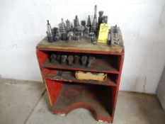 LOT TOOL CABINET & BT40 TAPER TOOL HOLDERS W/TOOLING & COLLETS