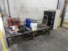 LOT METAL TABLES, FIRE EXT., FILE CABINETS, ETC.