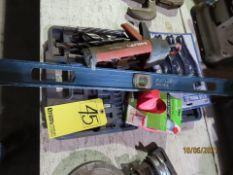 LOT MISC. TOOLS - HILTI CAULKING GUN, DRILLS, REAMERS, WIRE BRUSHES, SOCKETS & END WRENCHES