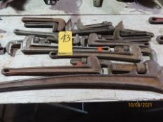 """LOT PIPE WRENCHES, INCLUDING RIDGID UP TO 48"""", W/ EXTRA JAWS"""