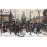 GALIEN-LALOUE Eugène (1854-1941). Paris, marché aux fleurs. Gouache. Signée en bas à gauche. 19 X