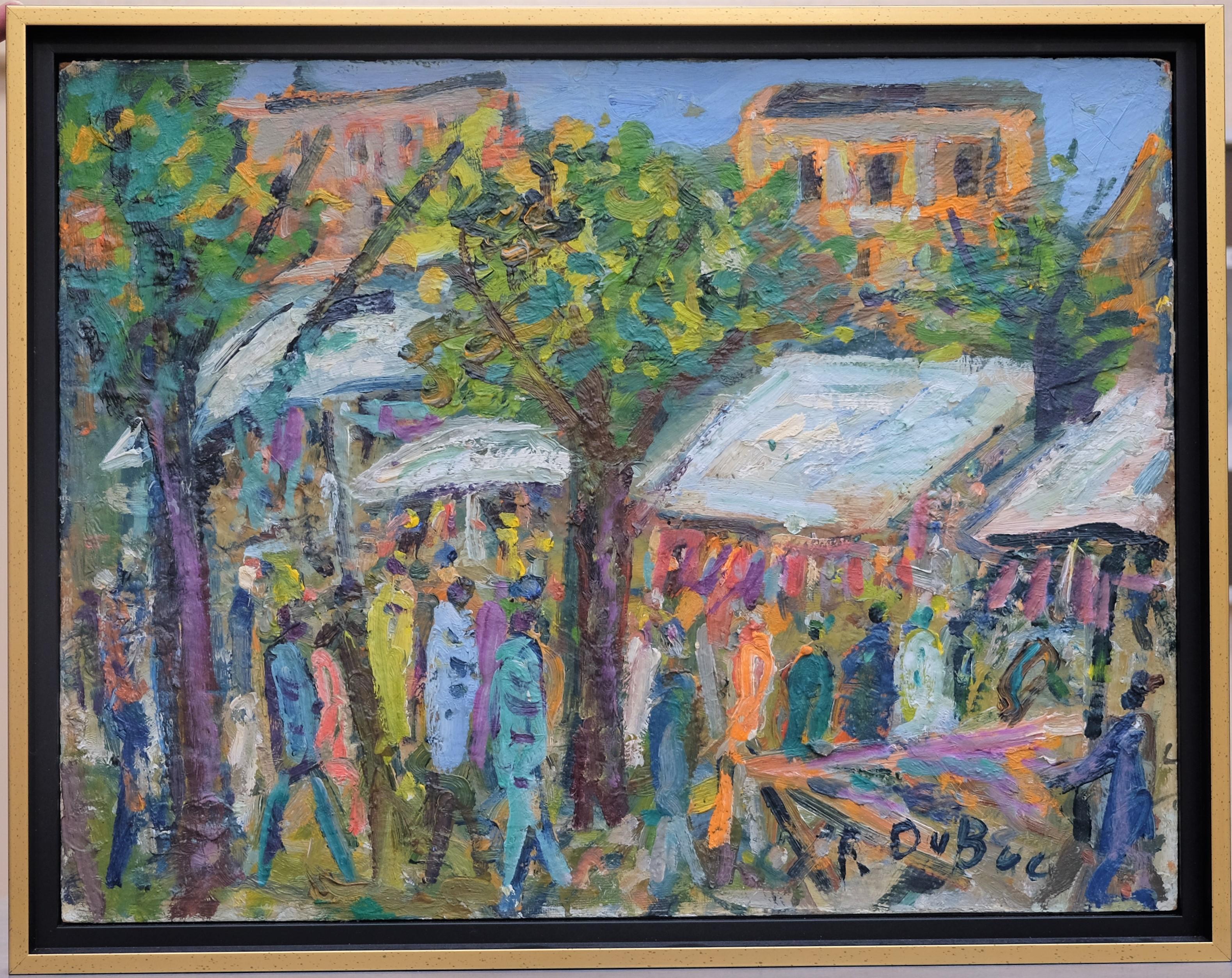 DUBUC Roland (1924-1998). Marché africain. Huile sur isorel. Signée en bas à droite. 47 X 62.