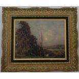MUENIER Jules-Alexis (Vesoul, 1863-1942). Paysage. Huile sur toile. Signée en bas à gauche. 27 X