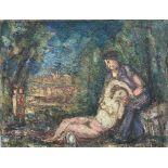 BINAEPFEL Lucien (1893-1972). Nu dans un paysage. Huile sur toile. Signée en bas à droite. 50 X 65.
