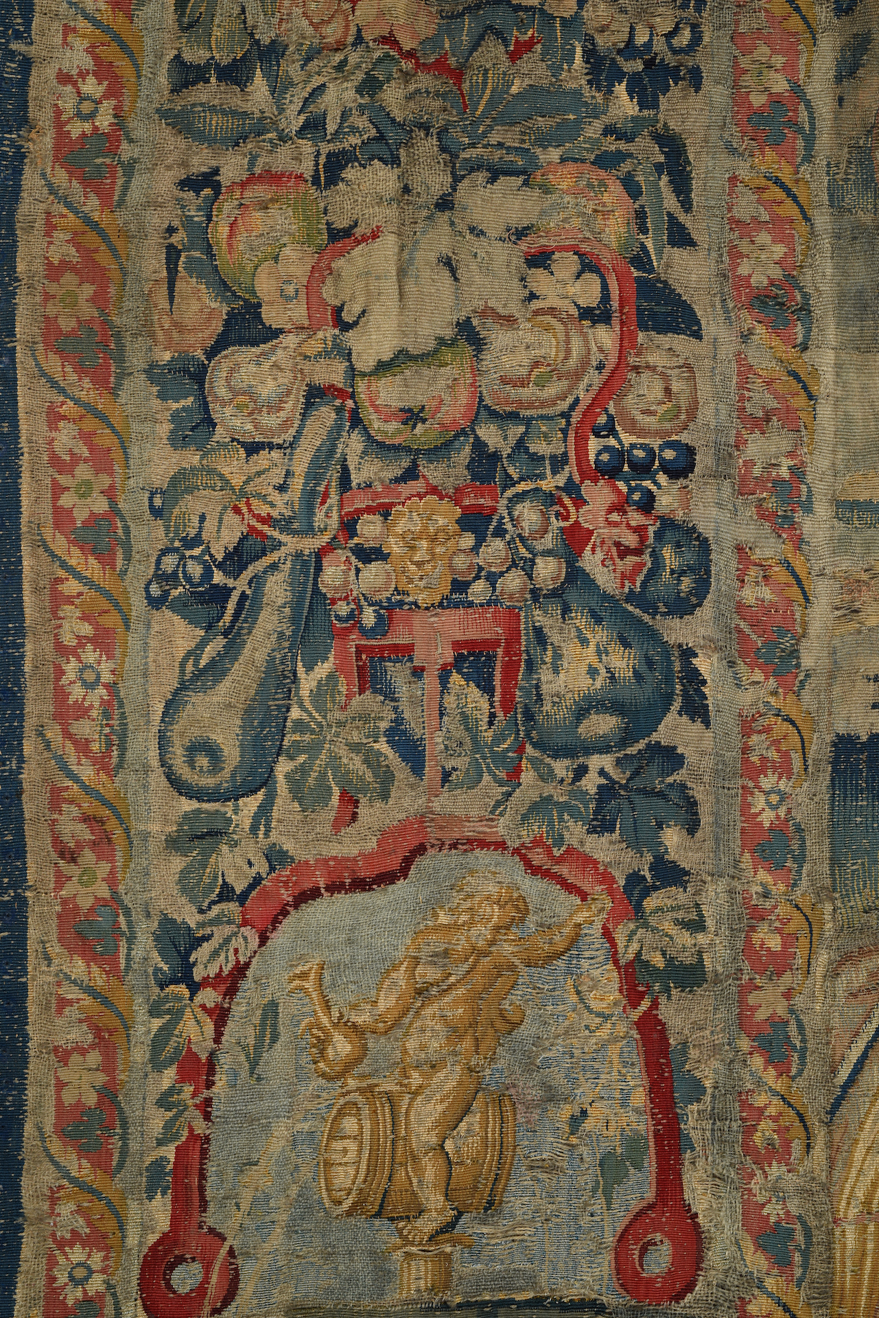 TAPISSERIE en laine et soie faisant partie d'une tenture de l'Histoire de Moïse. Au centre, Moïse, à - Image 2 of 4