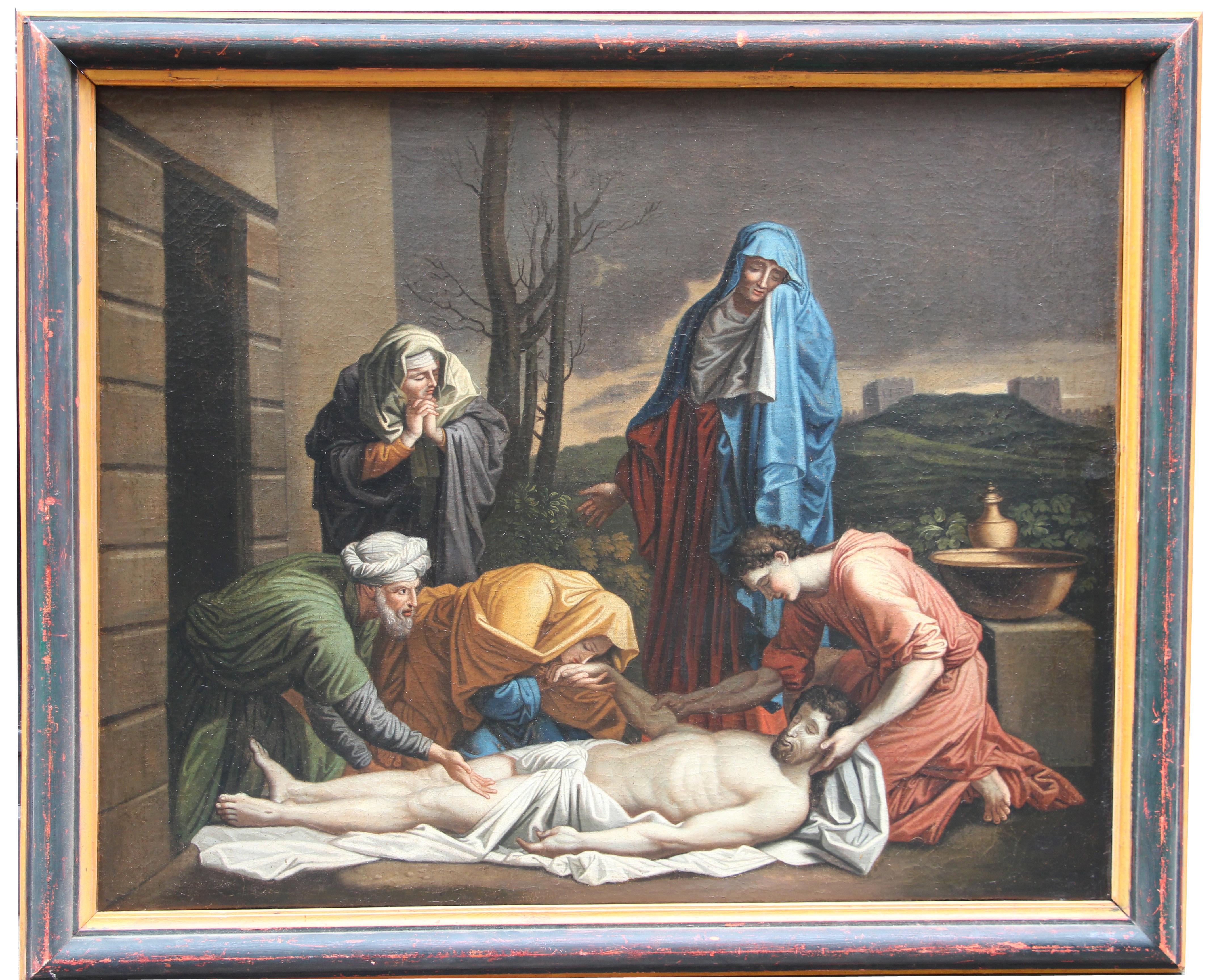 Ecole française, XVIIe (d'après Nicolas POUSSIN). La mise au tombeau. Huile sur toile (rentoilée).