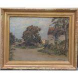 GOSSELIN Albert (né en 1862). Village. Huile sur toile. Signée en bas à droite. 46 X 61.