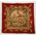 Deux TAPISSERIES à décor de personnages dans des réserves à motifs de draperies fleuries. 68 X 70.