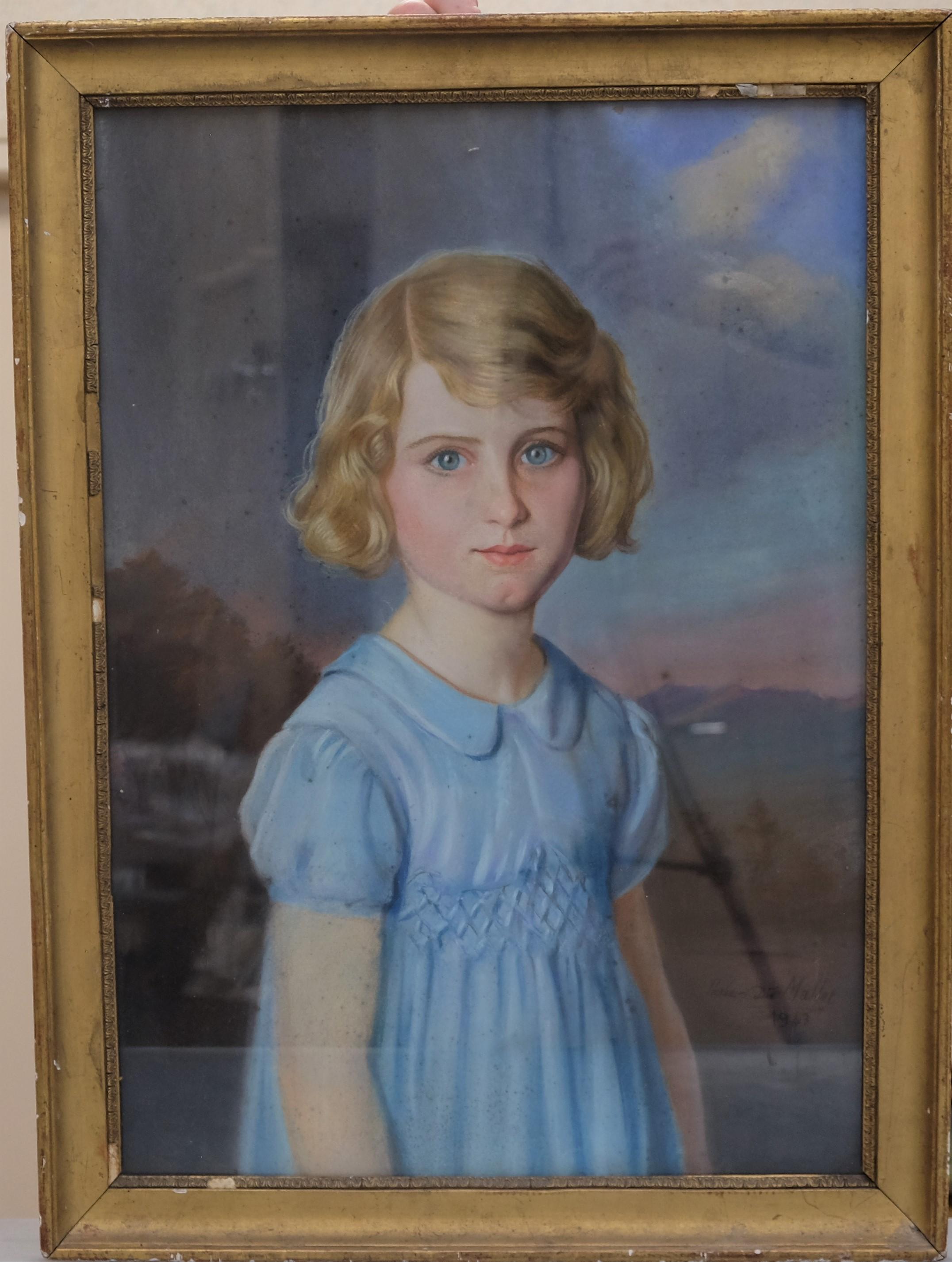 MALLET Pierre-Dié (1895-1976). Fillette à la robe bleue. Pastel (rousseurs). Signé en bas à droite