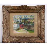 UTRILLO Maurice (1888-1955). Le Moulin de la Galette, vers 1930. Gouache sur papier publicitaire.
