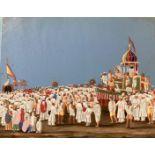 Scène de dévotion, Inde, XIXe. Gouache sur papier. Dimensions : 14,6 x 18,9 Etat : petite fente (1