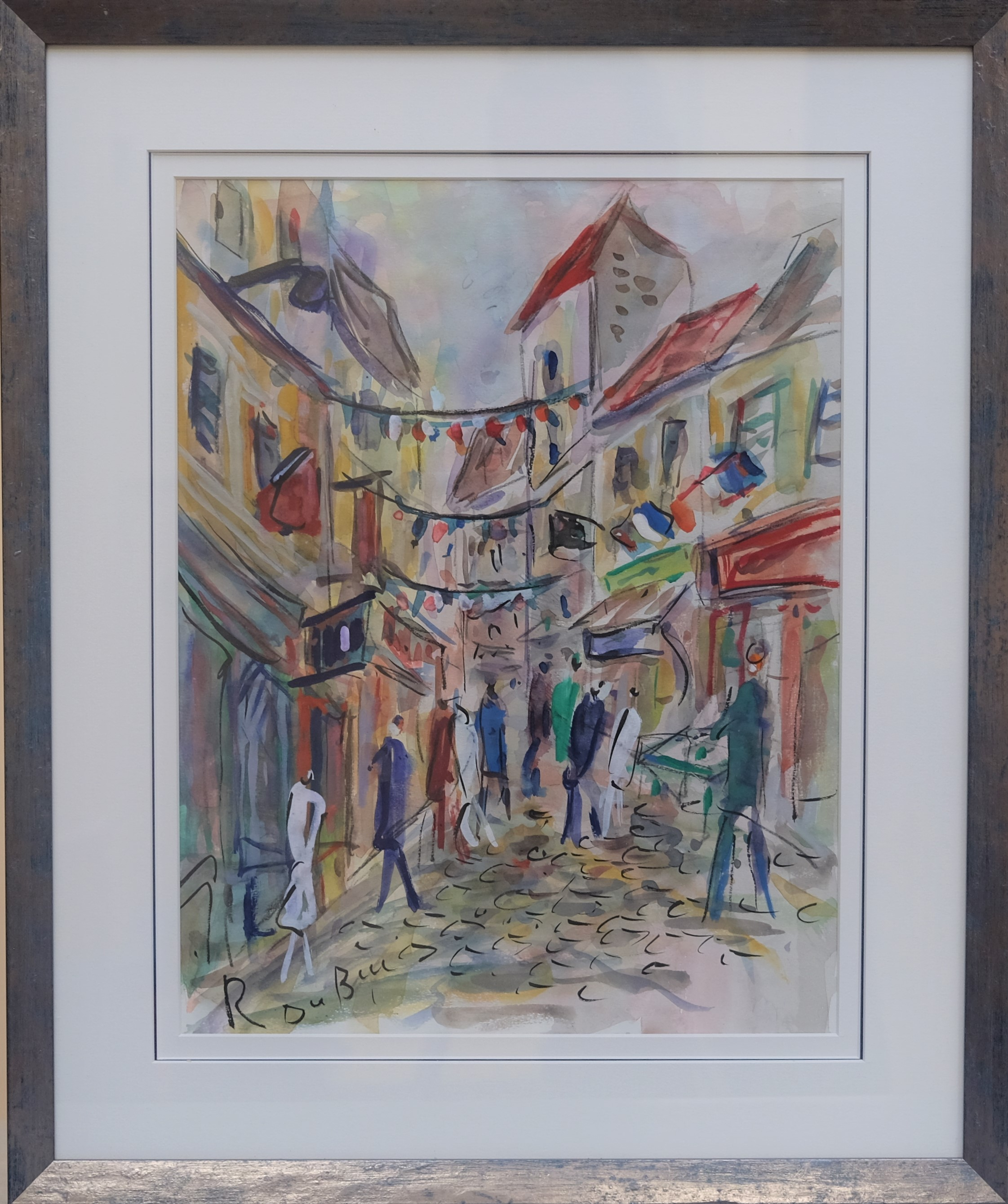 DUBUC Roland (1924-1998). La rue pavoisée. Gouache. Signée en bas à gauche. 40 X 30.