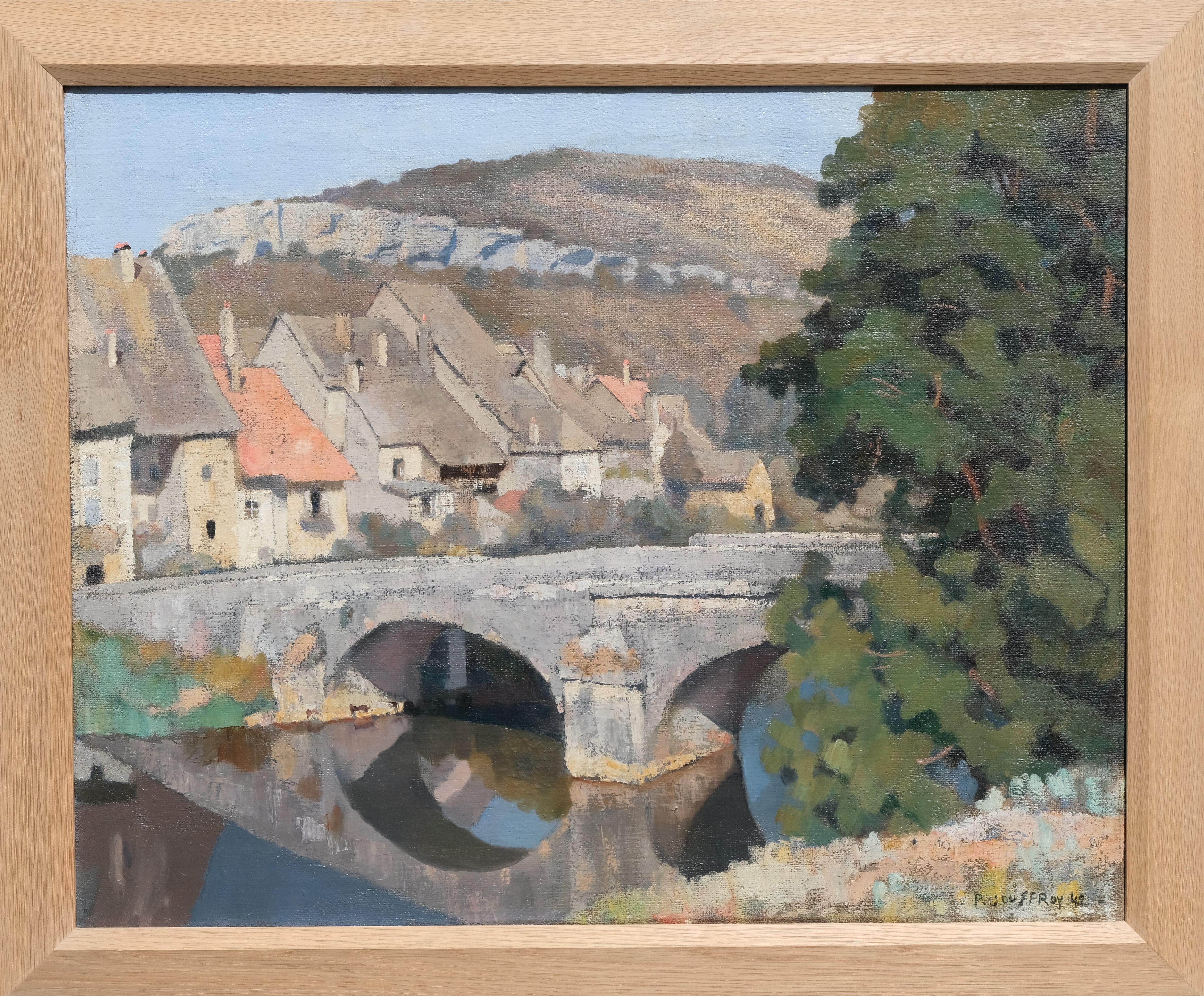 JOUFFROY Pierre (Voujeaucourt, 1912-2000). Ornans, le Pont de Nahin. Huile sur toile. Signée en