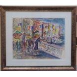 DUBUC Roland (1924-1998). Rassemblement devant le port. Gouache. Signée en bas à gauche. 35 X 44.