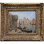 JEAN (XXe). Barques de pêche à quai. Huile sur panneau. Signée en bas à droite. 20 X 25.