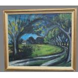 CHABAUD Auguste (1882-1955). L'allée du Mas Martin. Huile sur toile. Signée en bas à gauche. 78,5