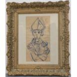 PELAYO Orlando (1920-1990). Portrait d'évêque. Encre sur papier (petit manque sur la droite). Signée
