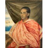Portrait de jeune prince au châle rouge, Inde, XIXe. Miniature sur ivoire. Dimensions : 9,5 x 7,5