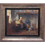 TERLOW Kees (1890-1948). Devant l'âtre. Huile sur toile. Signée en bas à droite. 33 X 41.