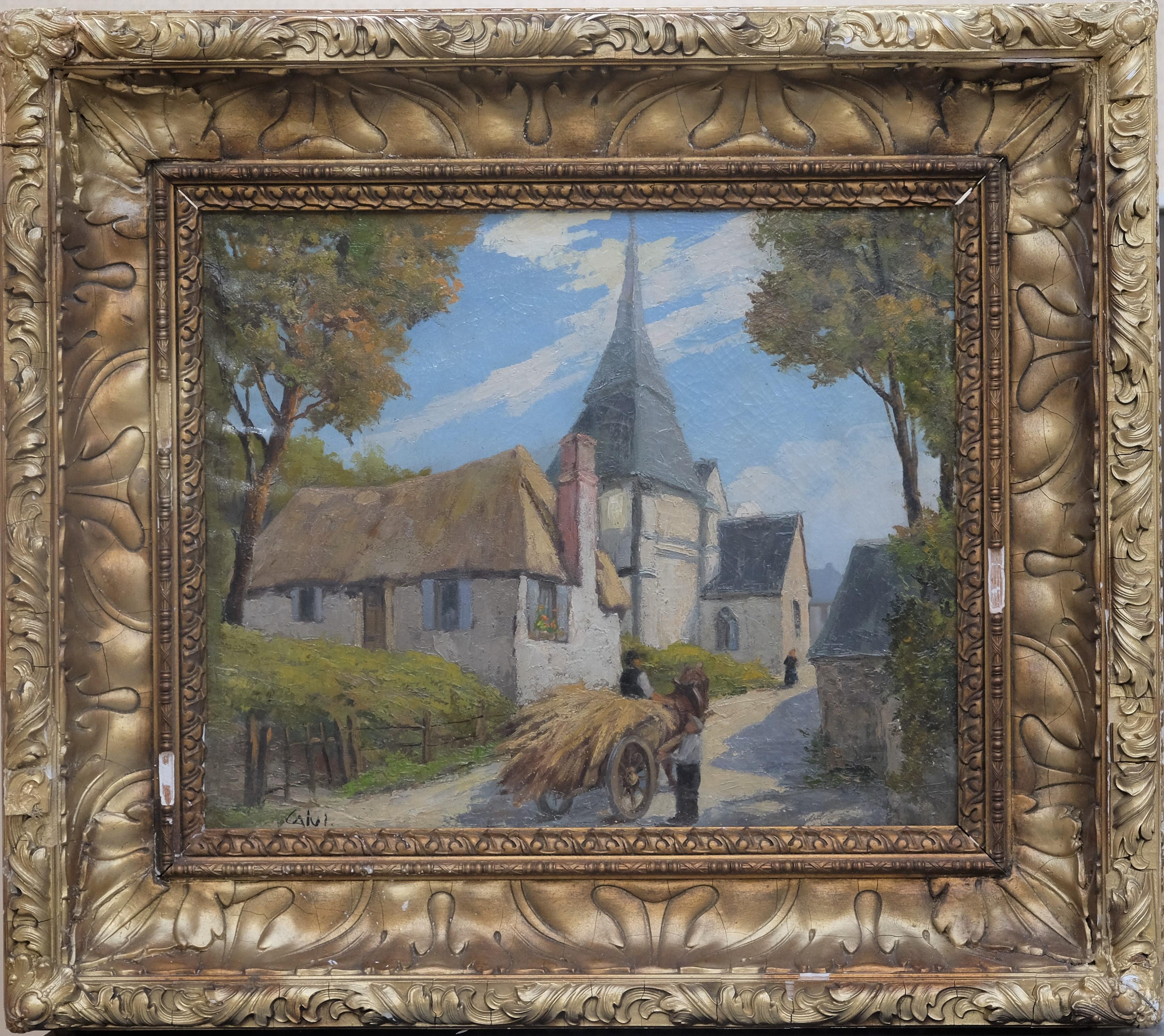 CALVI (XXe). Charrette de foin dans le village. Huile sur toile (restaurations). Signée en bas à