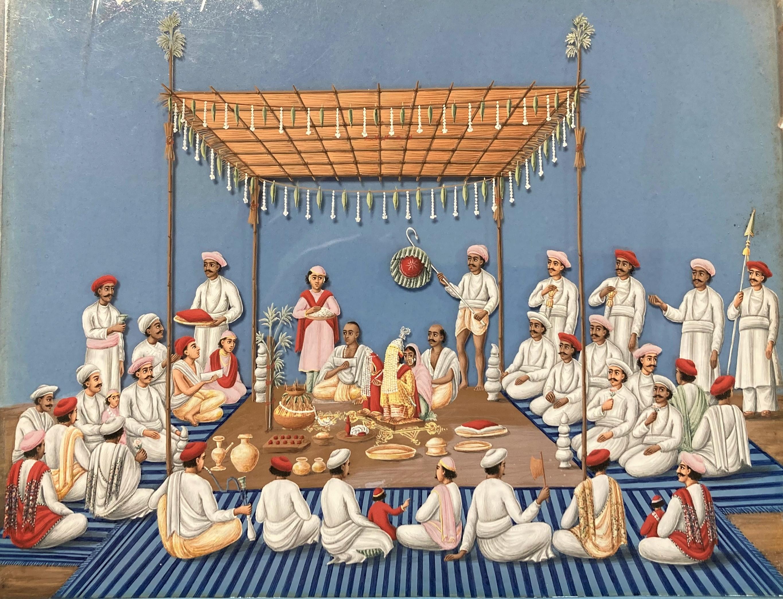 Cérémonie, Inde, XIXe. Gouache sur papier. Dimensions : 15 x 19,5 cm