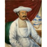 Portrait d'homme fumeur de hooka, Inde, XIXe