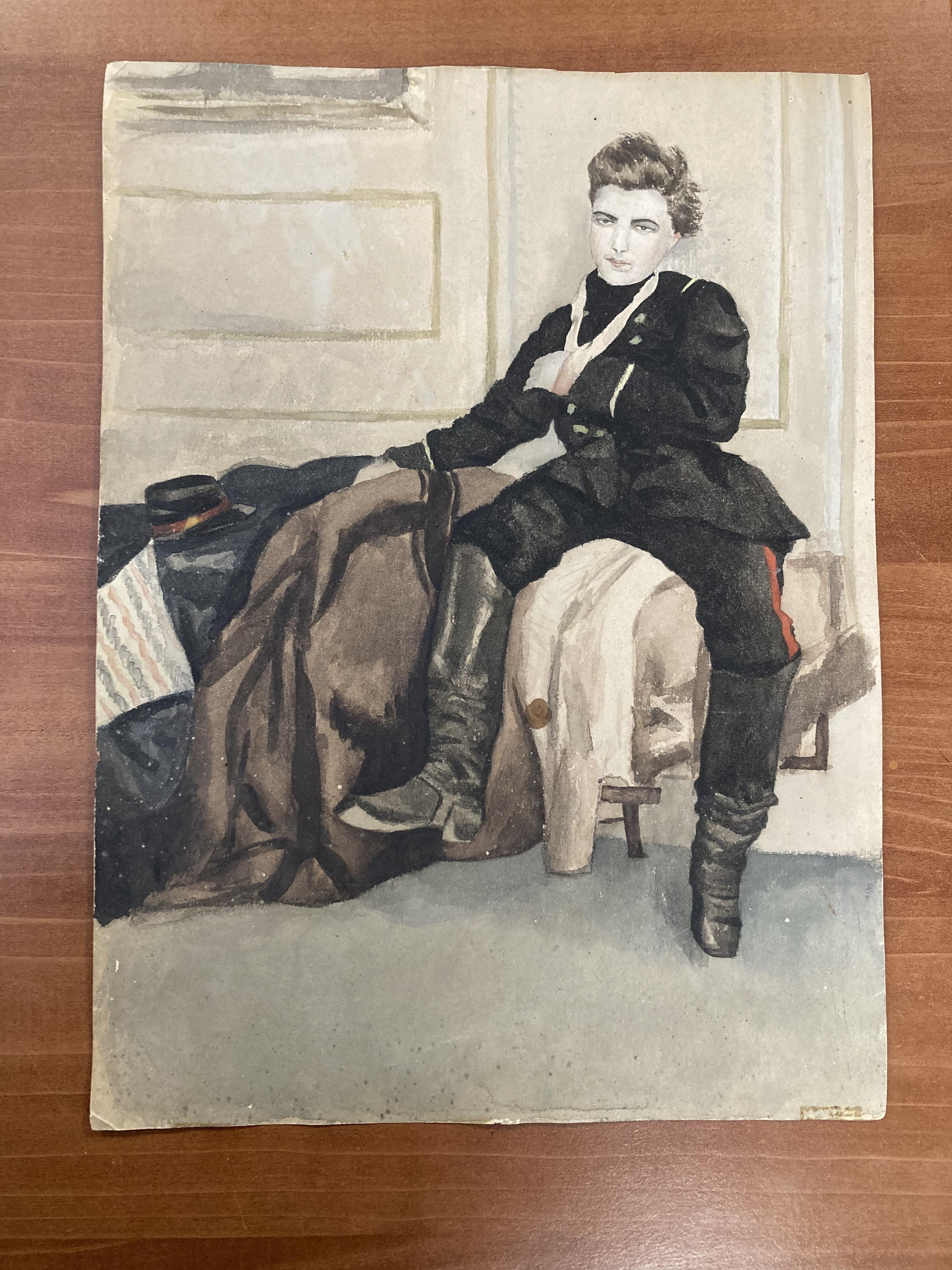 Fin XIXe, d'après James TISSOT. Soldat blessé. Aquarelle (tache d'encre noire). Porte au verso le - Image 3 of 4