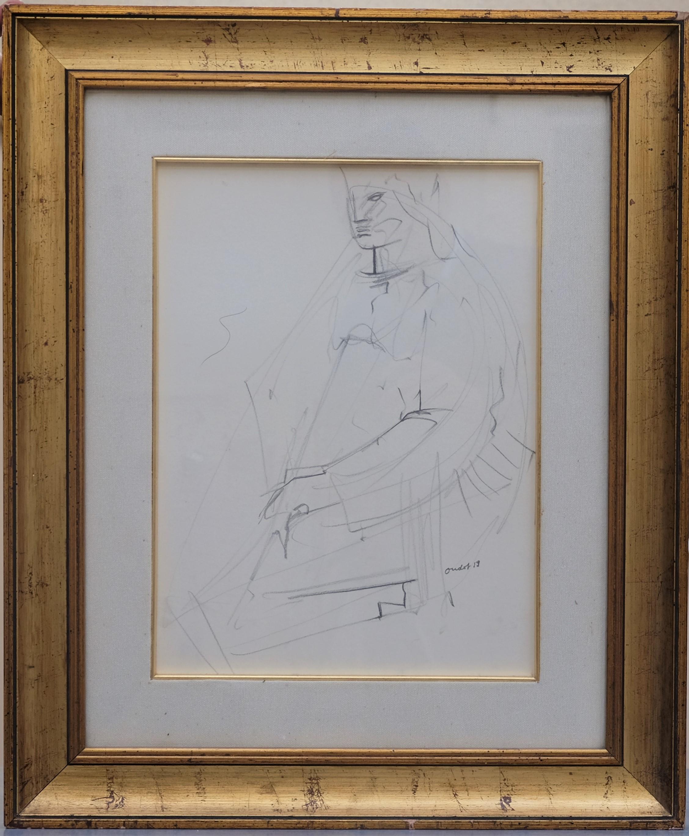 OUDOT Georges (1928-2004). Femme assise. Crayon. Signé en bas à droite et daté (19)59. 38 X 28.