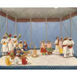 Scène de divertissement musical, Inde, XIXe. Gouache sur feuille de mica. Dimensions : 14,7 x 18,3