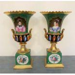 Paire de VASES en porcelaine polychrome et or ornés de motifs de fleurs et de deux portraits dans