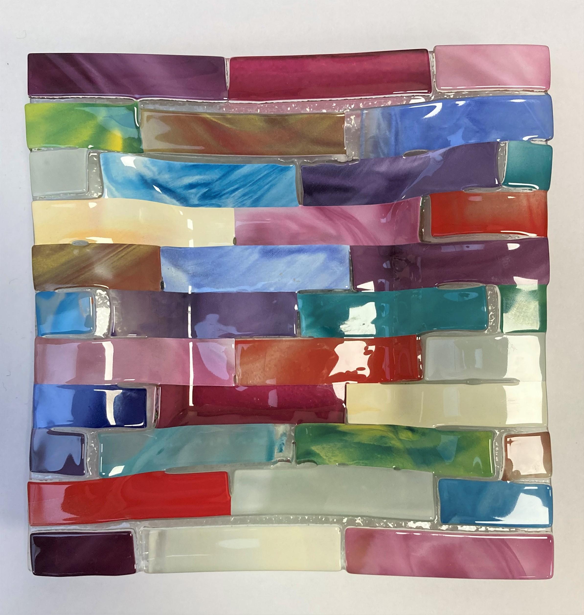 VIDE-POCHE en verre polychrome. Murano, XXe. 17 X 17.