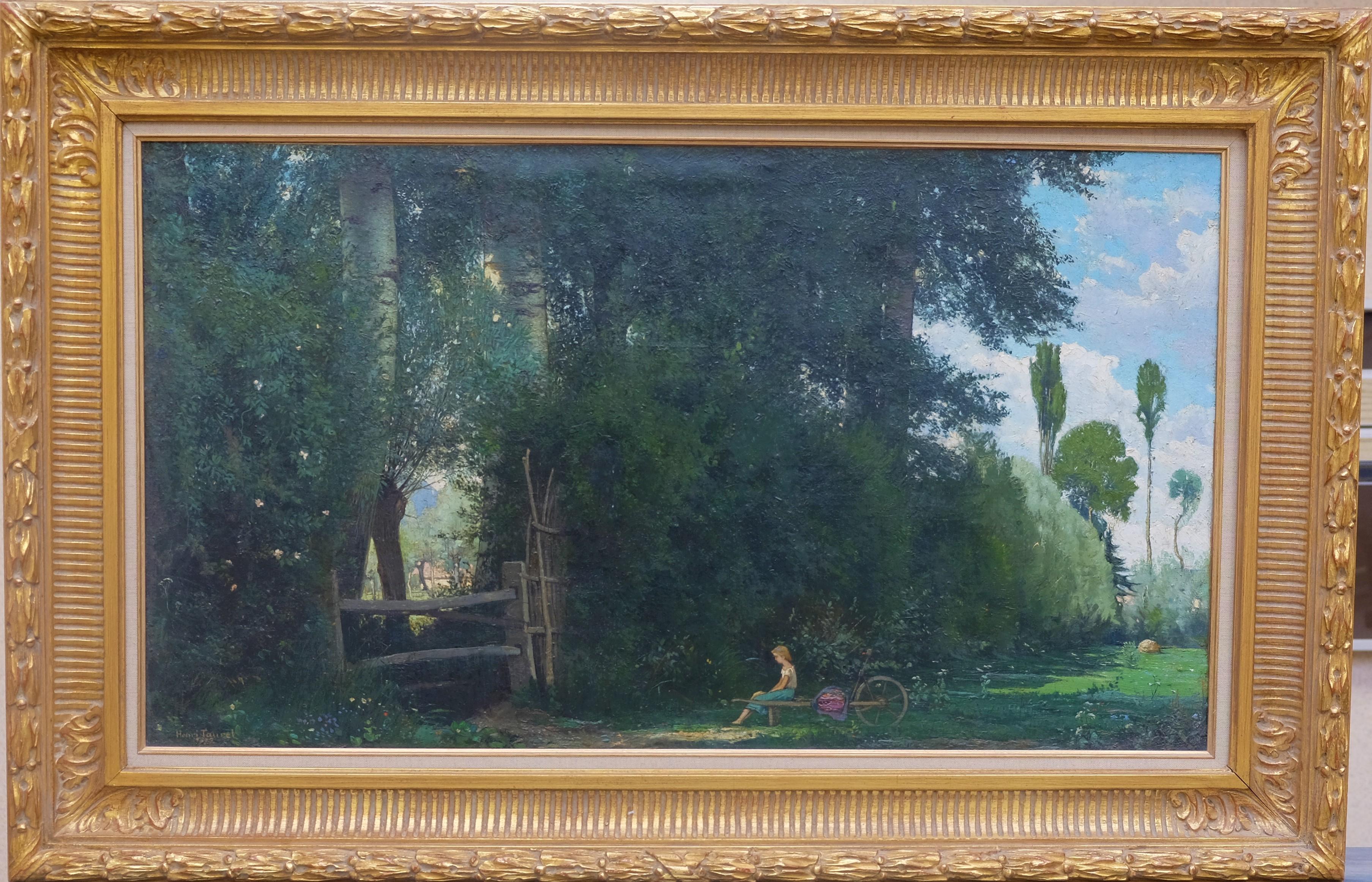 TAUREL Henri (1843-1927). Fillette assise sur une brouette. Huile sur toile. Signée en bas à