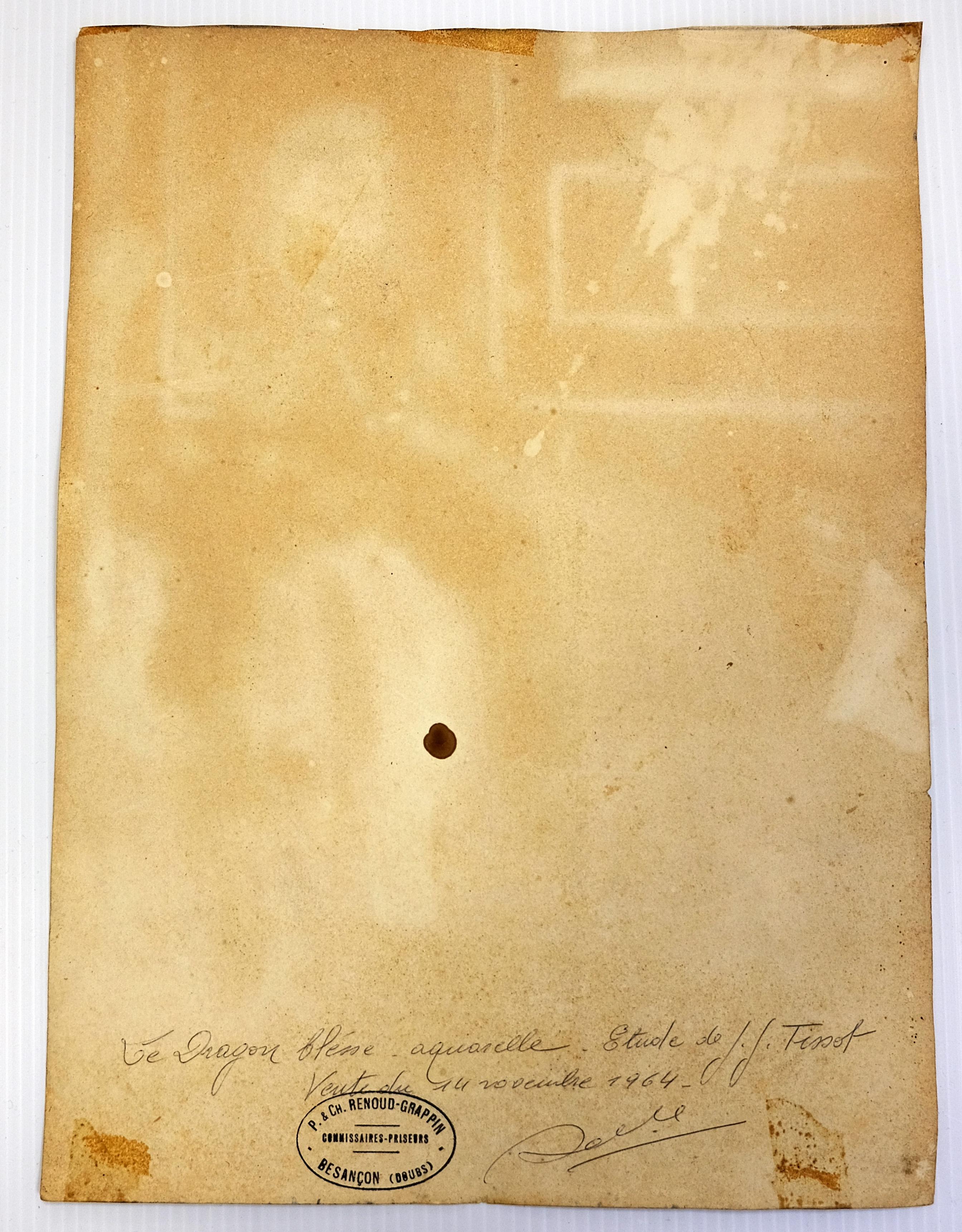 Fin XIXe, d'après James TISSOT. Soldat blessé. Aquarelle (tache d'encre noire). Porte au verso le - Image 2 of 4