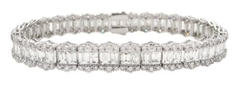 18ct white gold baguette and round brilliant cut diamond bracelet, stamped 750, total diamond weight
